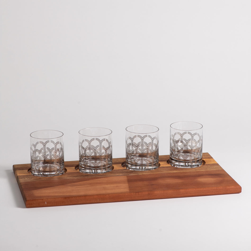 Bourbon Flight Board Deco Glass Set