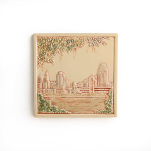 Cincinnati Skyline Tile Handpainted