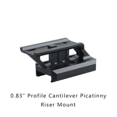 """0.5"""" Profile Cantilever Picatinny Riser Mount -inclined side"""