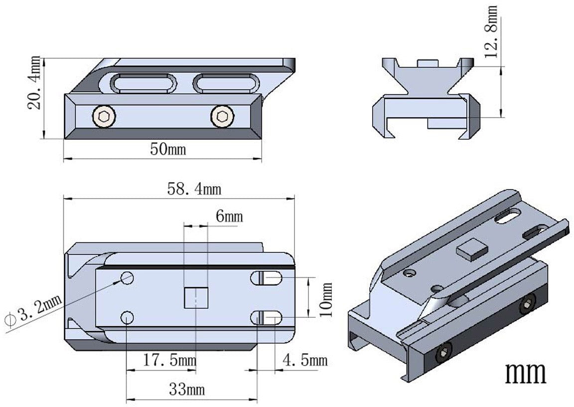 """0.5"""" Profile Cantilever Picatinny Riser Mount -structure data"""
