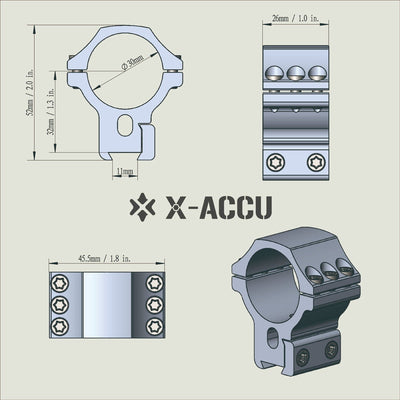 30mm X-ACCU Dovetail Scope Ring Medium