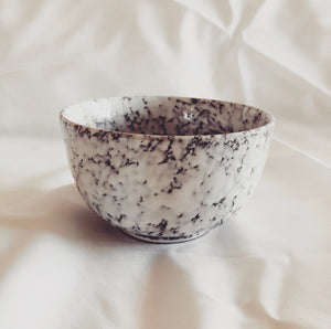 white frosted ceramic bowl soy candle