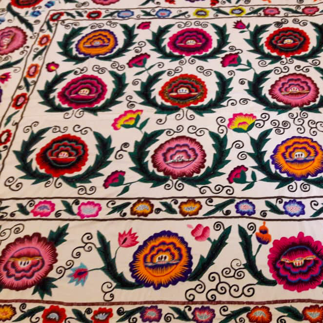 silk on cotton suzani