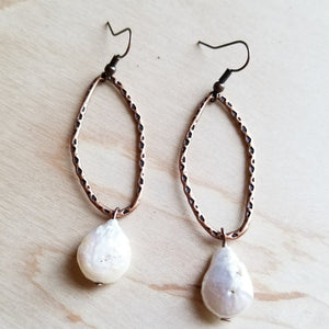 The Jewelry Junkie - Freshwater Pearl Coin on Copper Hoop Earrings