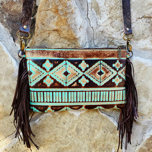 Turquoise Navajo Leather Clutch Handbag