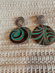 Annie Tooled Leather Concho Earrings