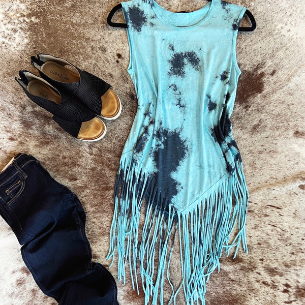 Kingman Blue Fringed Tank