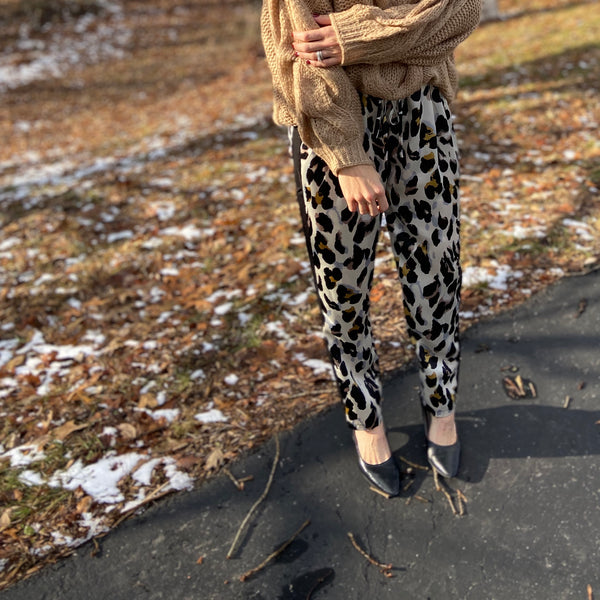 Satin Cream Leopard Pants