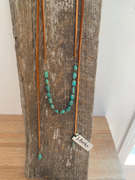 Kingman Turquoise & Leather Wrap Necklace