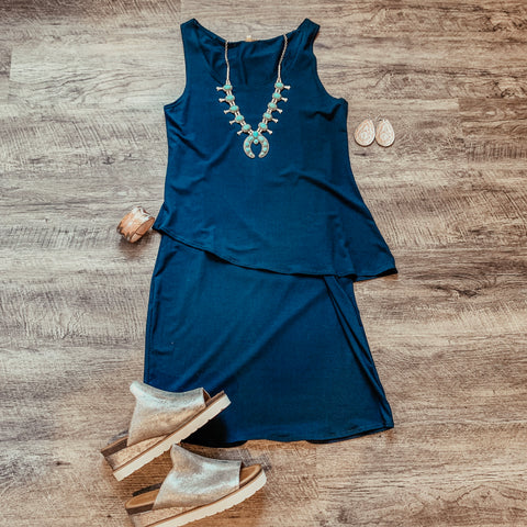 Liz Navy Dress with Overlay