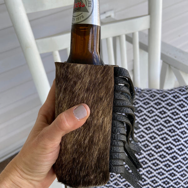 Brindle Print Hair On Fringe Coozie (Skinny Can or Bottle)