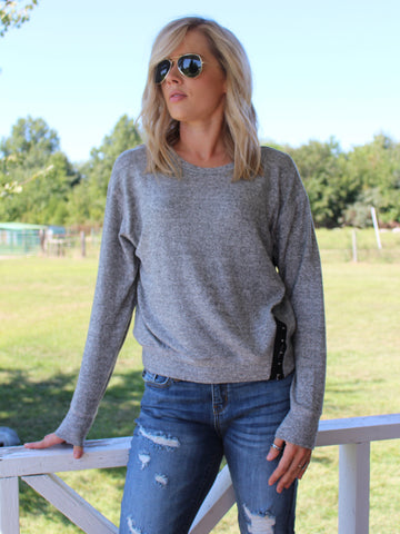 Cozy Heathered Hook and Eye Pullover