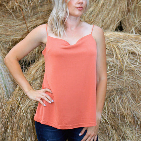 Jessa Tank in Spicy Coral