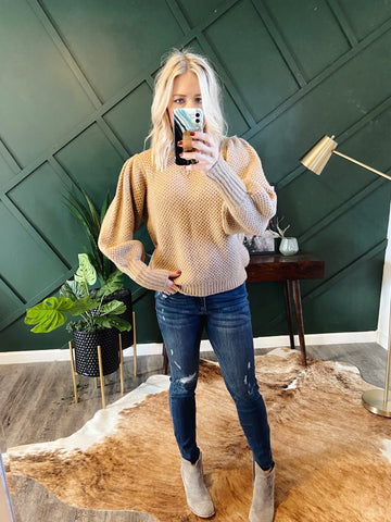Puff Sleeve Sweater in Camel