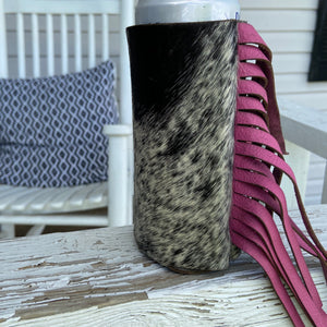 Black, White and Pink Cow Print Hair On Fringe Coozie (Skinny Can or Bottle)