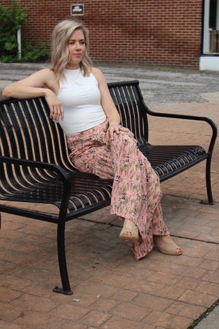 Satin Floral Pants in Salmon