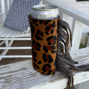 Leopard Hair On Fringe Coozie (Skinny Can or Bottle)