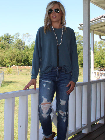 Hallie Oversized Longsleeve in Dusty Teal