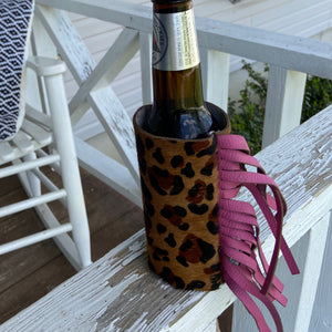 Leopard & Hot Pink Hair On Fringe Coozie (Skinny Can or Bottle)