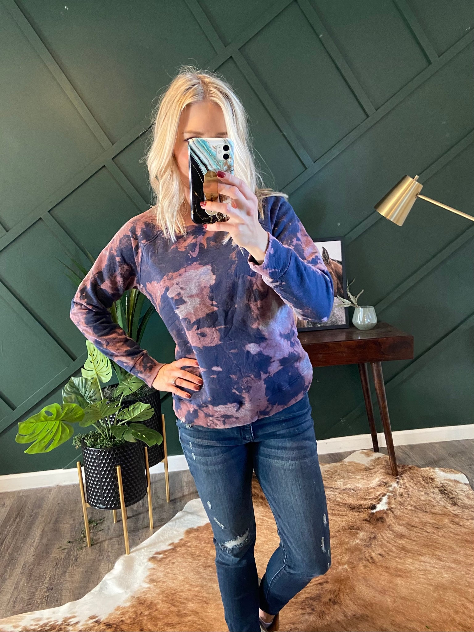 Cozy Navy Dyed Sweatshirt