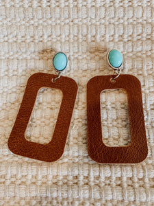 Austin Turquoise Leather Rectangles