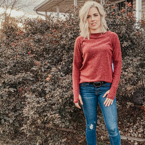Cozy Sweater in Burgundy Heather
