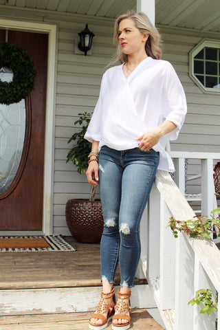 Callie Cross Front Blouse in White
