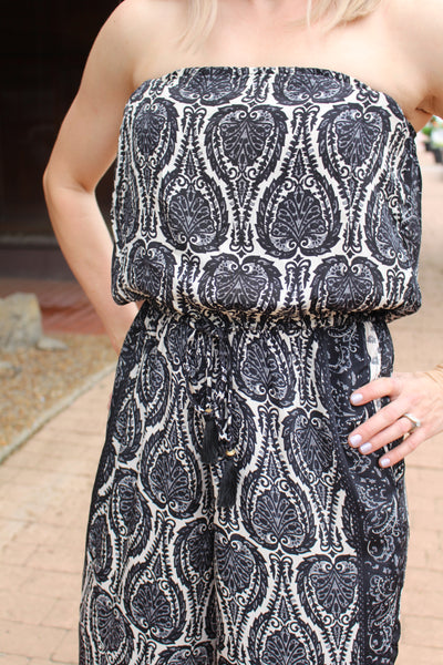 Evie Strapless Jumper in Black Paisley