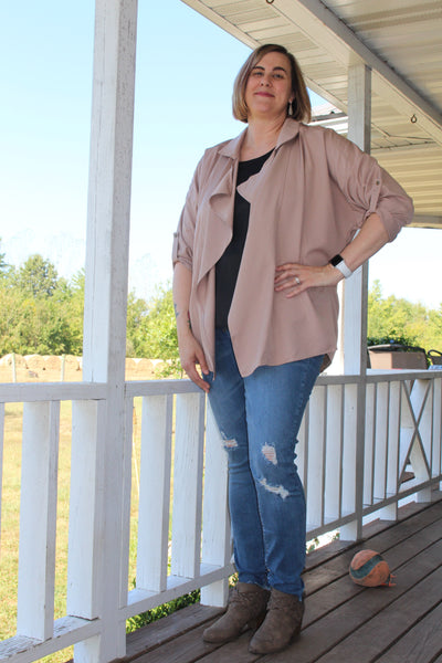 Camel Relaxed Blazer-Plus Size Only