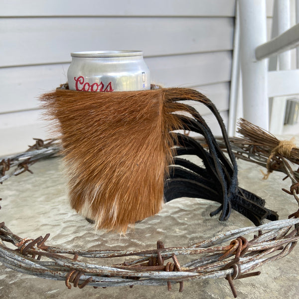 Brown and White Cow Print Hair On Fringe Coozie (Regular Can)