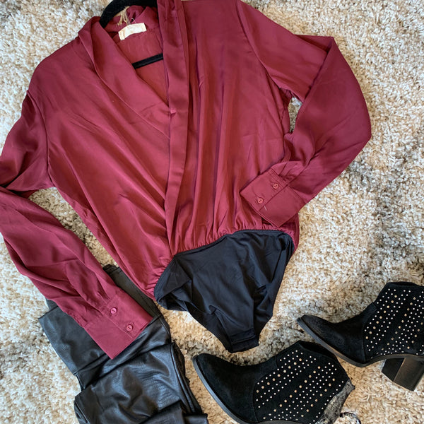 Satin Burgundy Blouse
