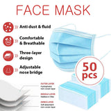 50 pcs Ear Loop 3-Ply Disposable Face Mask | Non-Medical | Shipped From San Dimas via USPS mail