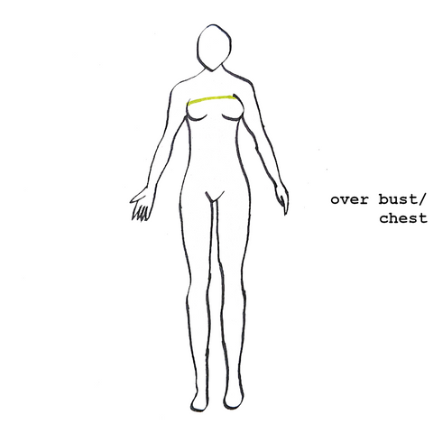 diagram depicting where to measure your chest/over bust