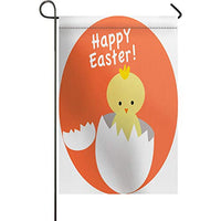 Garden Flag Vertical Double Sided Happy Easter Decorative Garden Flags, Baby Chick Broken Egg Shell Design Printed BURLAP Yard Outdoor Decor - Weather Resistant & Double Stitched - 12 x 18 Inch