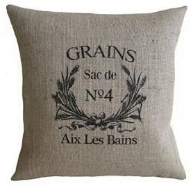 Acelive Vintage French Grain Sack Burlap Pillow Cover 18 x 18 inches