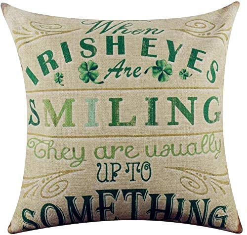 Acelive 20x20 Inches Vintage St. Patrick's Day Green Burlap Throw Pillow Case Seat Cushion Cover for Home Sofa Couch Car Decoration