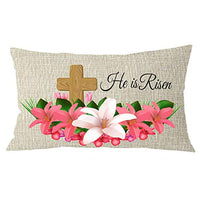 NIDITW Sister Gift He is Risen Wood Cross Lily Flowers Lumbar Cream Burlap Throw Pillow Cover Cushion Case Decorative Rectangle 12X20 Inches (he is Risen)