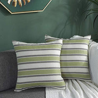 TAOSON Pack of 2,Classic Retro Checkers Plaids Lined Linen Burlap Square Deco Throw Cushion Cover Pillow Cover Pillowcase with Hidden Zipper Closure Only Cover No Insert 18x18 Inch 45x45cm Green