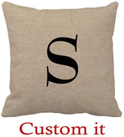 Goldaisy Monogram Faux Linen Burlap Rustic Chic Initial Jut Outdoor Pillow Covers 18 x 18inches
