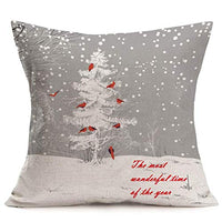 Christmas Snowflake Pillow Covers Cotton Linen Burlap Printed Effect Decorative Throw Pillow Case Home Sofa Couch Decor 18 x 18 Inch Merry Xmas (Snowflake cm)