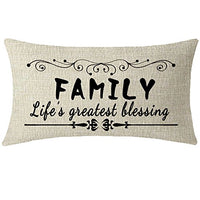 NIDITW Mothers Grandmothers Gift with Funny Family Sayings Words Cream Burlap Throw Pillow Covers Pillow Case Pillow Sham Home Chair Sofa Decorative Rectangle 12x20 inches