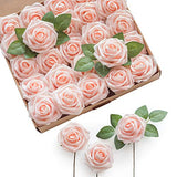 Ling's moment Artificial Flowers Blush Roses 25pcs Real Looking Fake Roses w/Stem for DIY Wedding Bouquets Centerpieces Bridal Shower Party Home Decorations