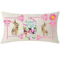 NIDITW Sister Gift Happy Spring Seasons Greeting Easter Colored Eggs Truck Lumbar Burlap Throw Pillow Cover Pillow Case Sofa Couch Decorative Rectangle Oblong 12X20 Inches