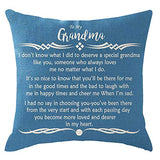 ITFRO Grandson Easter's Day Gift with Words Lake Blue Burlap Pillow Shams Covers for Couch Decorative Square 18 Inch