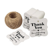 Baby Shower Tags,Wedding Bridal Favor Tags,Thank You For Celebrating With Us Paper Gift Tags ,100 Pcs Kraft Thank You Tags For Party Favors with 100 Feet Natural Jute Twine