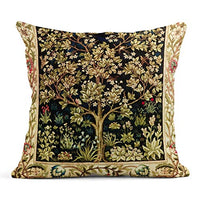 Tarolo Linen Burlap Throw Pillow Covers Cases William Morris Tree of Life Floral Vintage Art 16x16 Inch Decorative