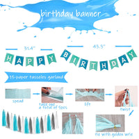 1st Birthday Boy Decorations - 1st Boys Birthday Party Supplies Includes 21 Balloons, 15 Decorative tassels, a Happy Birthday Banner, an ONE Burlap Banner, 1 Crown as Outfit, an ONE cake Topper, 2 Pom Pom Flowers, Great for Boys First Birthday Party