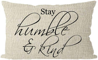 ITFRO Set of 2 Farmhouse Rustic Inspirational Life Words Stay Humble and Kind Simple and True Cream Beige Lumbar Burlap Throw Pillow Case Cushion Cover Sofa Decorative Rectangle 12x20 inch