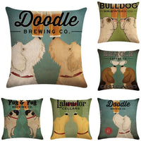"Ezyforu Throw Pillow Covers Dog Doodle Brewing Cotton Linen Burlap Decorative Sofa Pillowcases Cushion Cases 18"" x 18"""