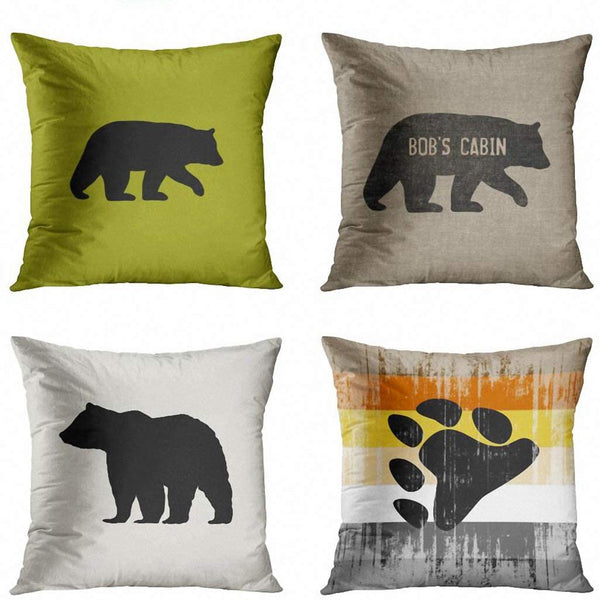 ArtSocket Set of 4 Throw Pillow Covers Wildlife Black Bear Silhouette Customizable Color Animals Lover Camping Cabin Burlap Worn Decorative Pillow Cases Home Decor Square 18x18 Inches Pillowcases
